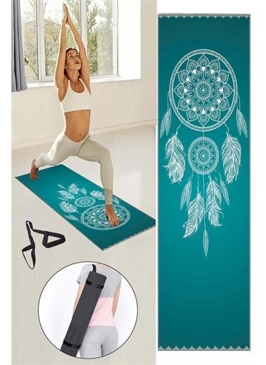 Else Halı Yeşil Beyaz Rüya Kapanı Desenli Yıkanabilir Kaymaz Fitness Spor Pilates Yoga Halısı Matı Renkli